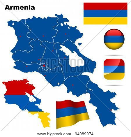 Armenia set. Detailed country shape with region borders, flags and icons isolated on white background.