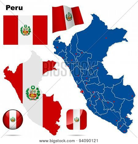 Peru set. Detailed country shape with region borders, flags and icons isolated on white background.