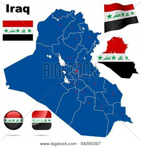 Iraq set. Detailed country shape with region borders, flags and icons isolated on white background.