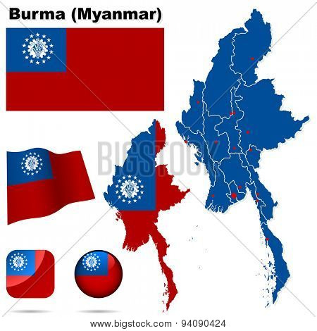 Burma (Myanmar) set. Detailed country shape with region borders, flags and icons isolated on white background.