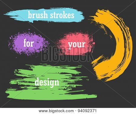 Colorful vector watercolor brush strokes grunge illustration