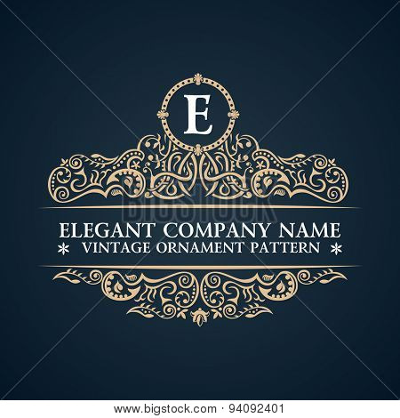 Calligraphic ornate logo. Emblem elegant decor elements. Vintage vector symbol ornament E