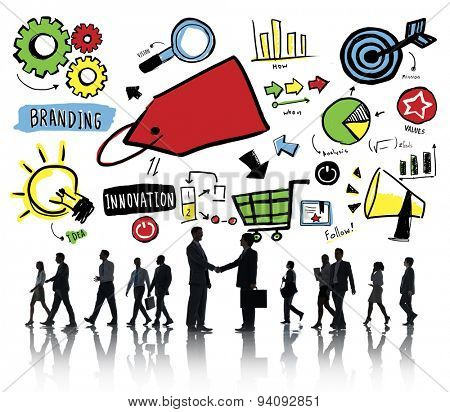 Business People Branding Marketing Partnership Handshake Concept