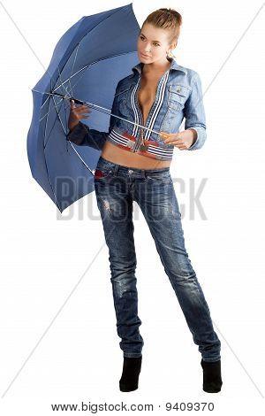 Leggy Woman In A Denim Suit