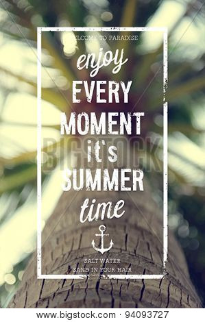 Enjoy every moment poster with sunset sea background.
