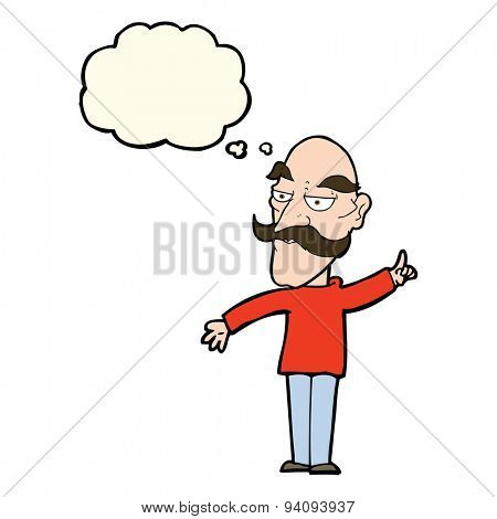 cartoon old man telling story with thought bubble