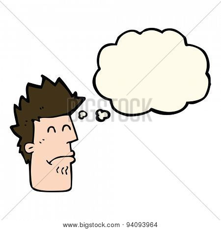 cartoon man feeling sick with thought bubble
