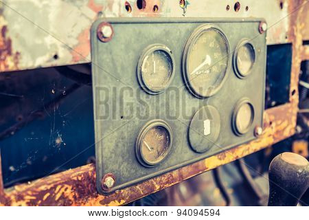 Vintage car gauge meter ( Filtered image processed vintage effect. )