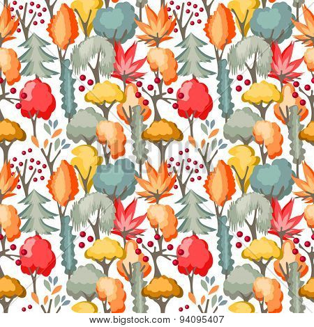 Seamless pattern with red and yellow autumn trees