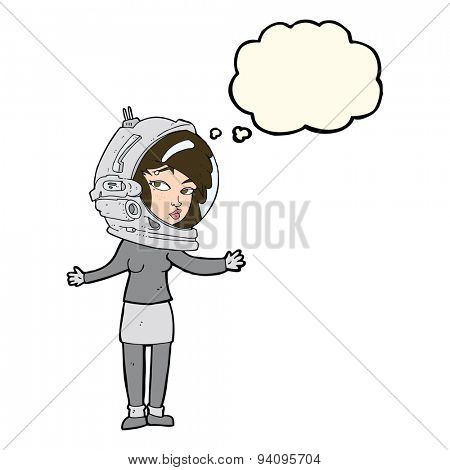 cartoon woman wearing astronaut helmet with thought bubble