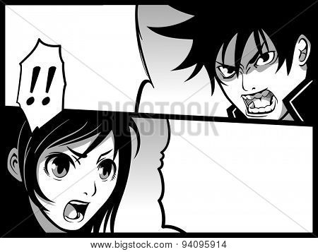 Typical japanese comics strip with boy and girl fight
