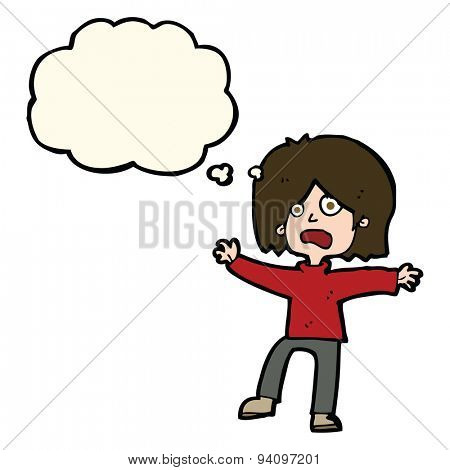 cartoon scared person with thought bubble
