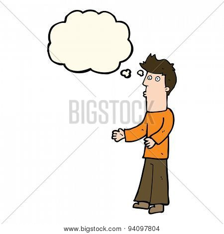 cartoon man explaining with thought bubble