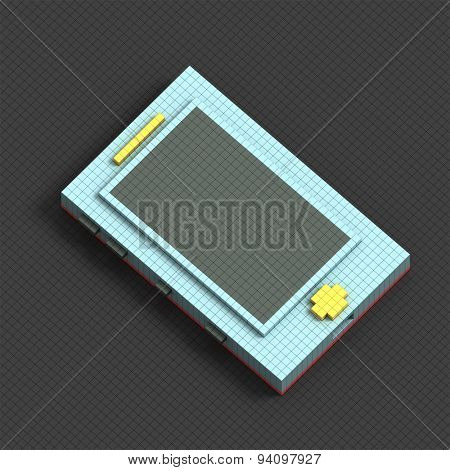 Isometric blue pixel smartphone on grey background