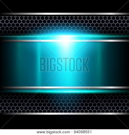 Background abstract blue metallic, vector illustration.