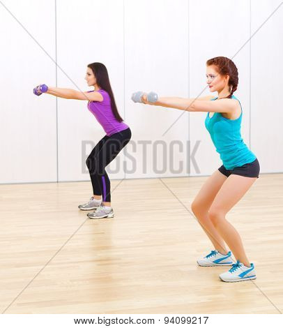 Two young girls at fitness club