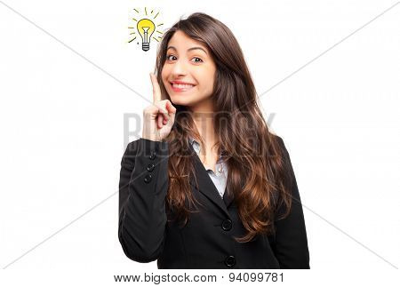 Portrait of a young businesswoman having a brilliant idea