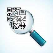 pic of qr-code  - Vector illustration magnifier and black qr code identification isolated on a white background - JPG
