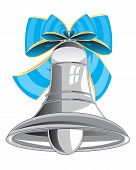 stock photo of blue-bell  - Bell from metal decorated by blue bow - JPG