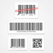 picture of barcode  - Vector illustration set label barcode and qr code isolated on a white background - JPG