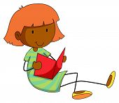 image of storybook  - Happy girl reading storybook alone - JPG