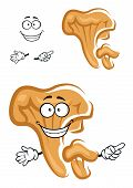 stock photo of chanterelle mushroom  - Funny orange chanterelle mushroom cartoon character with smooth cap and gills on the stipe for healthy fresh food design - JPG