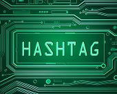 stock photo of hashtag  - Abstract style illustration depicting printed circuit board components with a hashtag concept - JPG
