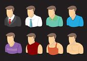 image of outfits  - Busts of cartoon men character in different outfits - JPG
