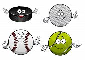 Постер, плакат: Ice hockey golf tennis and baseball items