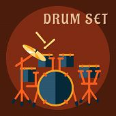 picture of drum-set  - Drum set with sticks in flat style with modern drum kit consist of snare drum on a stand - JPG