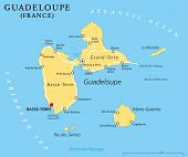 stock photo of political map  - Guadeloupe Political Map with capital Basse - JPG