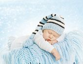 image of born  - Baby New Born Hat Costume Newborn Kid Sleeping on Blue blanket Infant Six Months Dream - JPG