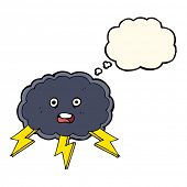 picture of lightning bolt  - cartoon cloud and lightning bolt symbol with thought bubble - JPG