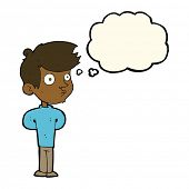 picture of stare  - cartoon boy staring with thought bubble - JPG