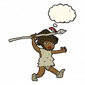 picture of caveman  - cartoon caveman with thought bubble - JPG