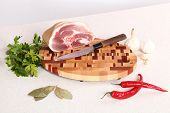 image of bay leaf  - Meat parsley pepper garlic and bay leaf on a chopping board - JPG