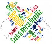 stock photo of bimbo  - Map of Central African Republic and text design with major cities - JPG