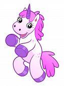 picture of unicorn  - Cute happy cartoon unicorn on the white background - JPG