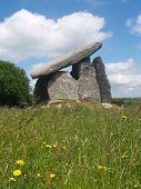 stock photo of burial  - Trethevy Quoit a Neolithic dolmen burial chamber located near St Cleer and Darite in Cornwall - JPG