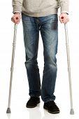 picture of crutch  - Mature male legs with crutches - JPG