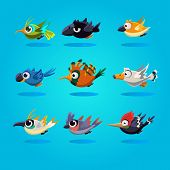 pic of angry bird  - Funny cartoon birds icons - JPG
