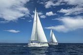 stock photo of sails  - Sailing at the Aegean Sea in Greece - JPG