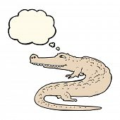 picture of alligators  - cartoon alligator with thought bubble - JPG