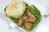 image of pork belly  - Steamed rice top with stir - JPG