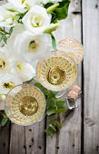 picture of wedding table decor  - Two glasses of champagne and white flowers - JPG
