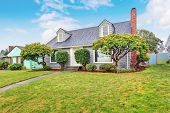 image of tree trim  - Authentic gray house with large lawn and trees - JPG