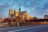 image of notre dame  - Notre Dame of Paris arches and structure at sunrise light - JPG