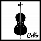 image of cello  - Isolated silhouette of a Cello - JPG