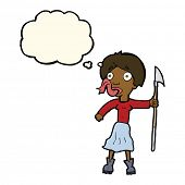 picture of spears  - cartoon woman with spear sticking out tongue with thought bubble - JPG