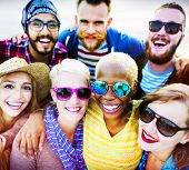 image of huddle  - Friends Huddle Cheerful Union Summer Concept - JPG